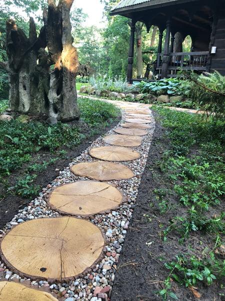 Betonowe drewno plastry ścieżki ogrodowe
